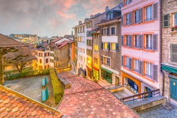 Fototapete - Downtown Lausanne city skyline in Switzerland