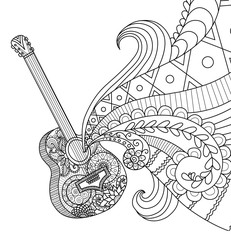 Doodles design of Guitar for coloring book for adult, poster, banner and so on