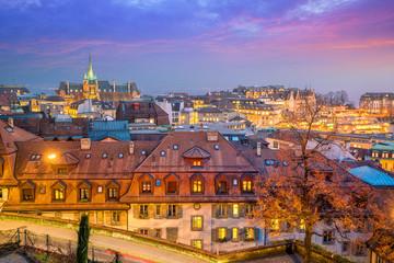 Fotomurales - Downtown Lausanne city skyline in Switzerland