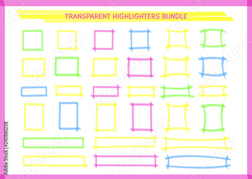 546da5af15ff ... frame collection vector illustration. Set of sketchy square felt pen  borders in neon colors. Bright highlight marks for school whiteboard or  stationery ...
