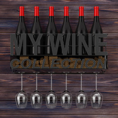 Wine Bottles, Corks and Glasses in Metal Wall Hanging Wine Storage Shelf with My Wine Collection Sign. 3d Rendering