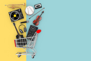 Many Musical Instruments Falling in Shopping Cart. 3d Rendering