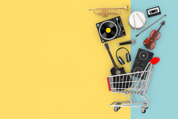 Stores à enrouleur Magasin de musique Many Musical Instruments Falling in Shopping Cart. 3d Rendering