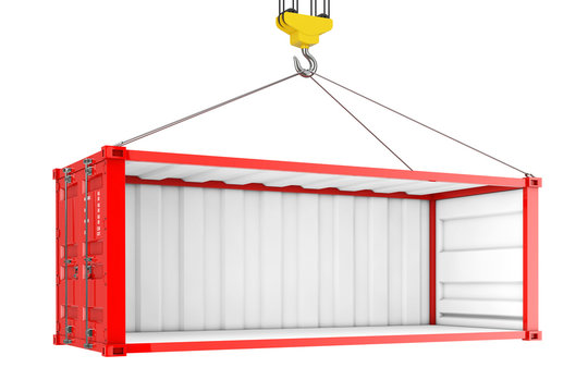 Empty Red Shipping Container with Removed Side Wall During Transportation with Crane Hook. 3d Rendering