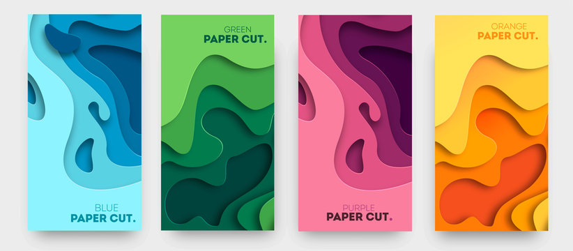 Vertical banners with 3D abstract background with paper cut shapes. Vector design layout for business presentations, flyers, posters and invitations. Colorful carving art