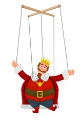 Doll marionette king in a golden crown on a white background. Element of children's puppet theater. Child's toy, theatrical doll. Vector illustration