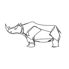 Rhino in continuous line style icon.