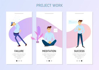 Flat design banner and elements of freelance. Workflow stages, failure, meditation, success.