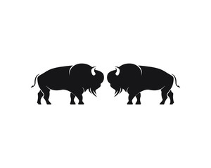 Bison logo icon vector template illustration