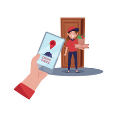 Delivery girl standing near door, holding pizza and bag with products. Customer hand holding phone. Flat vector design