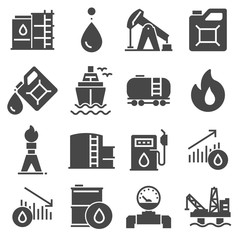 Petrol icons set. Oil pump and petrol icon with oil drop, tanker ship