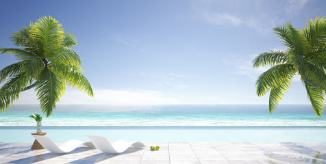 Tropical summer, beach lounge with palm trees,