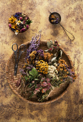 Dried medicinal herbs and flowers for herbal tea. Herbal Medicine