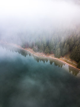 Autumn Foggy Forest With evergreen Trees In Mist clouds ,Aerial View.