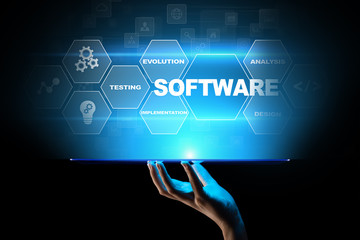 Software development and business process automation, internet and technology concept on virtual screen.