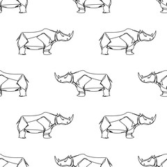Rhino in continuous line style seamless pattern.
