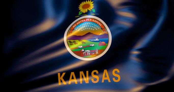Kansas flag in the wind . 3d illustration