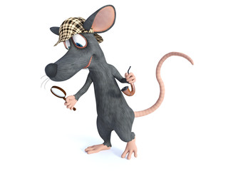 3D rendering of a smiling cartoon detective mouse holding magnifying glass.