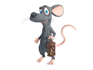 3D rendering of a smiling cartoon mouse holding a lantern.
