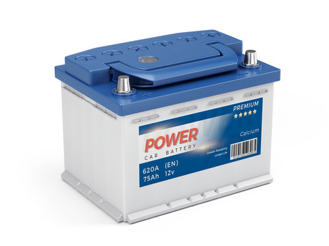 12v Car battery with abstract label isolated on white background. 3d rendering