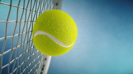 Tennis racket hits tennis ball. Closeup on blue background- 3d rendering