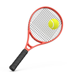 Tennis racquet and tennis ball isolated on white - 3d rendering