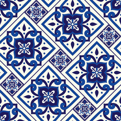 Portuguese tile pattern seamless vector with vintage motifs. Portugal azulejos, mexican talavera, italian sicily majolica, delft dutch, spanish ceramic. Mosaic texture for kitchen wall or bathroom.