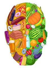Poster Aquarel Schedel Human head food useful harmful diet food, vector