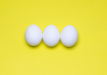 Easter Holiday Eggs on Yellow Background