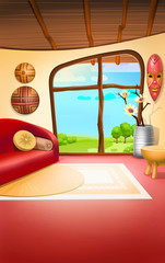 country house interior, cartoon background