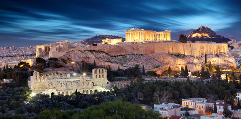 Parthenon of Athens at dusk time, Greece  - long exposure