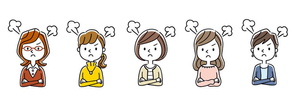 複数の女性:怒る、怒り