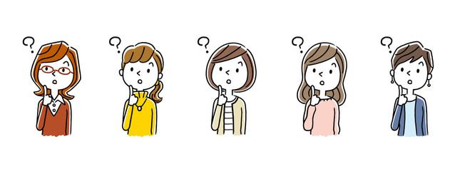 複数の女性:疑問、考える