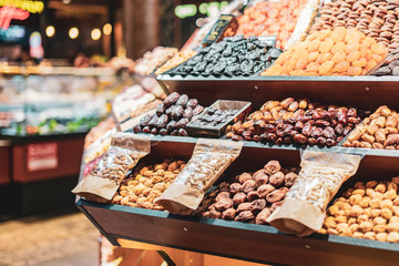 assortment of organic dried fruits in the market b