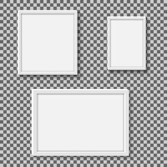 Set of white realistic square empty picture frames on transparent background.