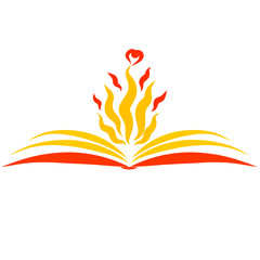 an open book and a flame with hearts above its pages