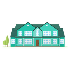 Vector flat suburban american house. For web design and application interface, also useful for infographics. Family house isolated on white background.