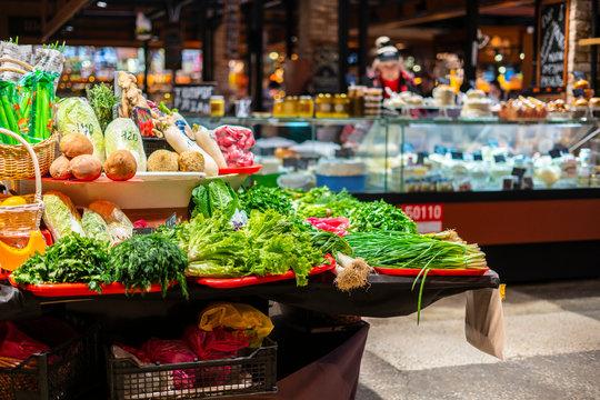 fresh vegetables and fruits in vegan food store  b