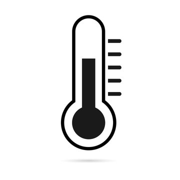 Thermometer icon for weather or medicine. Vector illustration. - Vector