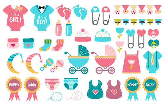 Baby shower icon vector set gender reveal party