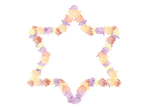 Star of David shape from Hand drawn flowers on White background