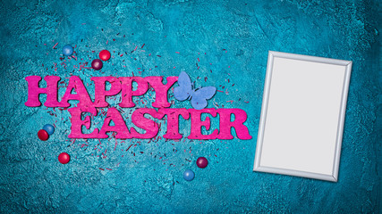 Mock up of blank white frame with pink text of happy easter and colorful dragee with sugar sprinkles