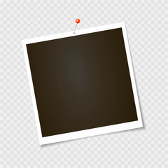 Photo frame. Polaroid frame, vector with pin, staple, paper clip. Template. Vector illustration