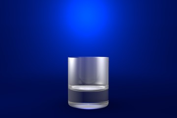 3D illustration of old fashioned whiskey glass on blue vivid background - drinking glass render