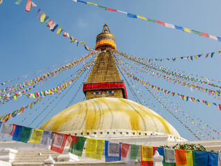 Boudhanath Stupa among of prayer flags, Kathmandu, Nepal