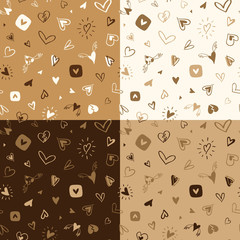 Set of seamless hand drawn patterns with hearts