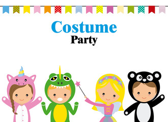 Wall Mural - Costume party poster. Blank space for text
