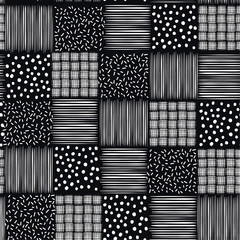 Hand drawn ink seamless patterns vector hand sketch  backgrounds of simple  textures with dots, stripes, waves,grid,check ,design for fashion and all prints