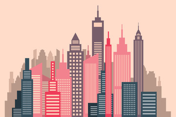 Skyscrapers Vector Flat Design City Panorama Illustration