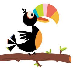 Vector flat simple cartoon of toucan bird